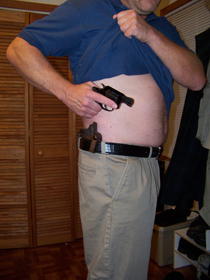 with the shirt out of the way, the concealed gun has a clear path to the target