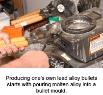 Producing one's own bullet lead starts with pouring molten alloy into a bullet mould
